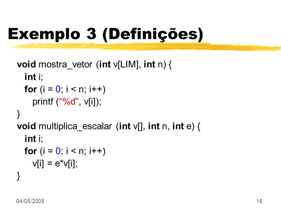 Exemplo 3 (Definições) void mostra_vetor (int v[LIM], int n) { int i;